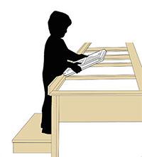 ※身長120㎝の子どもさんが、15㎝の踏み台に乗ったイメージ図